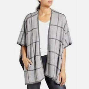 Athleta Wool Blend Reversible Sweater Shawl Cardigan Wrap Grey Check Solid OS